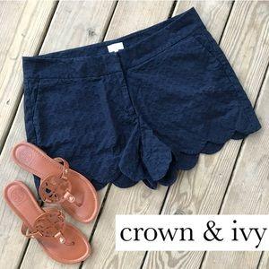 Crown & Ivy Navy Scallop Hem Shorts 14